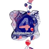 Celebration card design for USA independence day. Card template for celebration of independence day of USA using paper cut effect Royalty Free Stock Photos