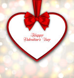 Celebration Card in form Heart with Ribbon Valentines Day. Illustration Celebration Card in form Heart with Ribbon Valentines Day, Glowing Background - Vector Royalty Free Stock Photo