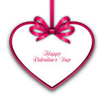 Celebration Card in form Heart with Ribbon for Valentines Day Royalty Free Stock Photo
