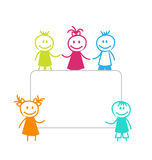 Celebration Card with Funny Girls and Boys Stock Photo