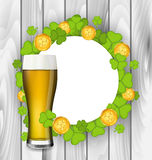 Celebration card with glass of light beer, shamrocks Stock Images