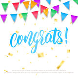 Celebration card. Holiday background with congrats calligraphy, gold confetti and colorful buntings garlands. Birthday Stock Photography