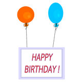 Celebration card with hot air balloons and inscription happy birthday! on white background Stock Images