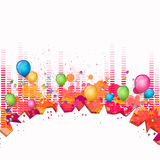 Celebration card. Illustration of an Abstract City Background with Music Equalize Royalty Free Stock Photography
