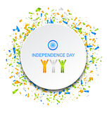 Celebration Card for Independence Day of India with Confetti, 15th of August. Illustration Vector Stock Photos