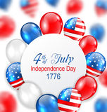 Celebration Card for Independence Day of USA with Balloons in American National Colors Royalty Free Stock Photos