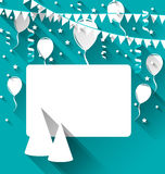 Celebration card with party hats, balloons, confetti and hanging Stock Image