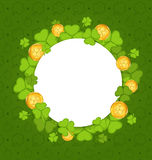Celebration card with shamrocks and golden coins for St. Patrick Royalty Free Stock Photos