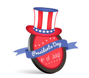 Celebration Card with Uncle Sam's Hat and Ribbon for Happy Presidents Day of USA Royalty Free Stock Photo