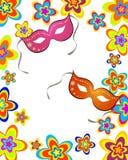 Celebration card. Vector illustration of carnival mask on a floral background Stock Photography
