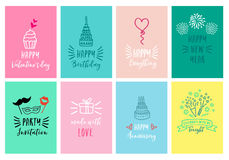 Celebration cards, vector set Stock Photo