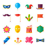 Celebration carnival set of flat icons and objects Royalty Free Stock Images
