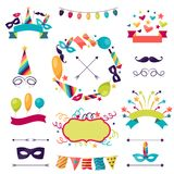 Celebration carnival set of icons, decorations and Royalty Free Stock Photos