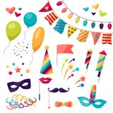 Celebration carnival set of icons and objects.  Royalty Free Stock Photos