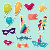 Celebration carnival set of sticker icons and Royalty Free Stock Photography