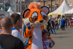 Celebration at central square of Vladivostok in honor of the Tiger Day. Stock Photos