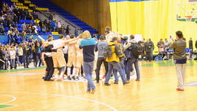 Celebration ceremony, Basketball championship F4 Final, Kiev, stock footage