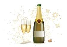 celebration with champagne stock illustration