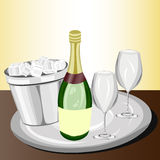 Celebration with champagne. Bottle of champagne next to two glass with its respective bucket of ice, served in a tray on a bar Stock Images