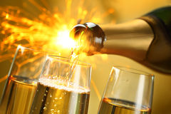 Celebration with Champagne. Closeup of champagne explosion.New year celebrate Stock Photography
