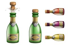 Celebration champagne Popping Cork Bottle Pledge Success Prosperity Symbol Drink Icons Set 3d Realistic Template Vector Stock Image