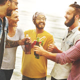 Celebration Cheers Hipster Drinking Together Friends Concept.  Stock Image