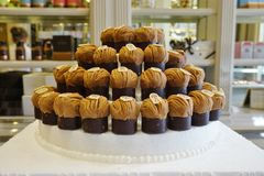 Celebration of the chestnut Mont-Blanc pastry at the Angelina tea shop in Paris Stock Images