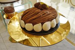 Celebration of the chestnut Mont-Blanc pastry at the Angelina tea shop in Paris Stock Photos