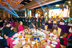 The celebration of Chinese New Year is coming for dinner. In January 20, 2013, Foshan City held a celebration of Chinese New Year coming banquet, banquet in Royalty Free Stock Photo