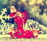 Celebration. Christmas card, toy gnome, retro, old style picture Stock Image