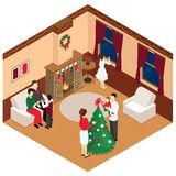 Celebration Of Christmas Isometric Design. With adults and children in beige brown room with decorations vector illustration Royalty Free Stock Photography