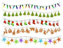 Celebration Christmas New Years Birthdays and other events garlands. Led lights bulbs lamps, patch stylized geometric green xmas trees, gingerbread cookies Stock Photo