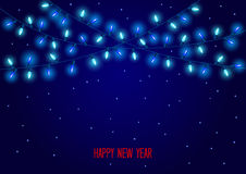 Celebration Christmas New Years Birthdays and other events  glowing led lights bulbs garland Stock Photography