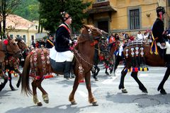 Celebration in the city of Brasov. Celebration of Brasov city days and Juni parade. Horseman on parade. Old romanian habit. Traditional celebration in Easter stock image