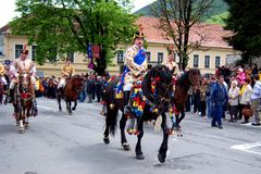 Celebration in the city of Brasov 2. Celebration of Brasov city days and Juni parade. Horseman on parade. Old romanian habit. Traditional celebration in Easter royalty free stock photography