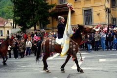 Celebration in the city of Brasov 4. Celebration of Brasov city days and Juni parade. Horseman on parade. Old romanian habit. Traditional celebration in Easter stock photos