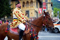 Celebration in the city of Brasov 7. Celebration of Brasov city days and Juni parade. Horseman on parade. Old romanian habit. Traditional celebration in Easter royalty free stock images