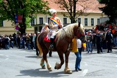 Celebration in the city of Brasov 9. Celebration of Brasov city days and Juni parade. Horseman on parade. Old romanian habit. Traditional celebration in Easter Stock Photos