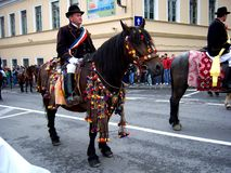 Celebration in the city of Brasov 12. Celebration of Brasov city days and Juni parade. Horseman on parade. Old romanian habit. Traditional celebration in Easter Stock Images