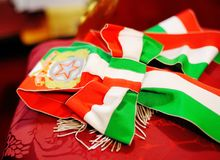 Celebration cockade. With the colors of the Italian flag Royalty Free Stock Photo
