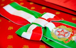 Celebration cockade. With the colors of the Italian flag Royalty Free Stock Photography