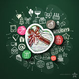 Celebration collage with icons on blackboard Stock Photography