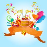 Celebration colored background. With champaign glasses birthday cake vector illustration Royalty Free Stock Photos