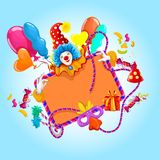 Celebration colored background. With clown balloons and decoration vector illustration Royalty Free Stock Photos