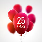 Celebration colorful background with red balloons. Anniversary 25th celebration realistic baloons.  Stock Image