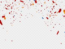Celebration Colorful background template with confetti and red ribbons. Vector. Illustration stock illustration