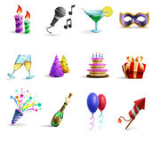 Celebration Colorful Cartoon Style  Icons Set. Season holidays weddings celebration and birthday parties icons set with champagne glasses and balloons abstract Royalty Free Stock Images