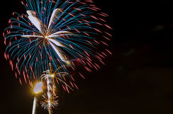 Celebration colorful fireworks. New Year holidays salute. 4th of July, Royalty Free Stock Photo