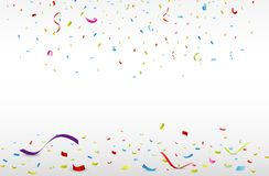 Celebration with colorful ribbon and confetti royalty free illustration