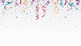 Celebration with Colorful ribbon and confetti, isolated on transparent background vector illustration